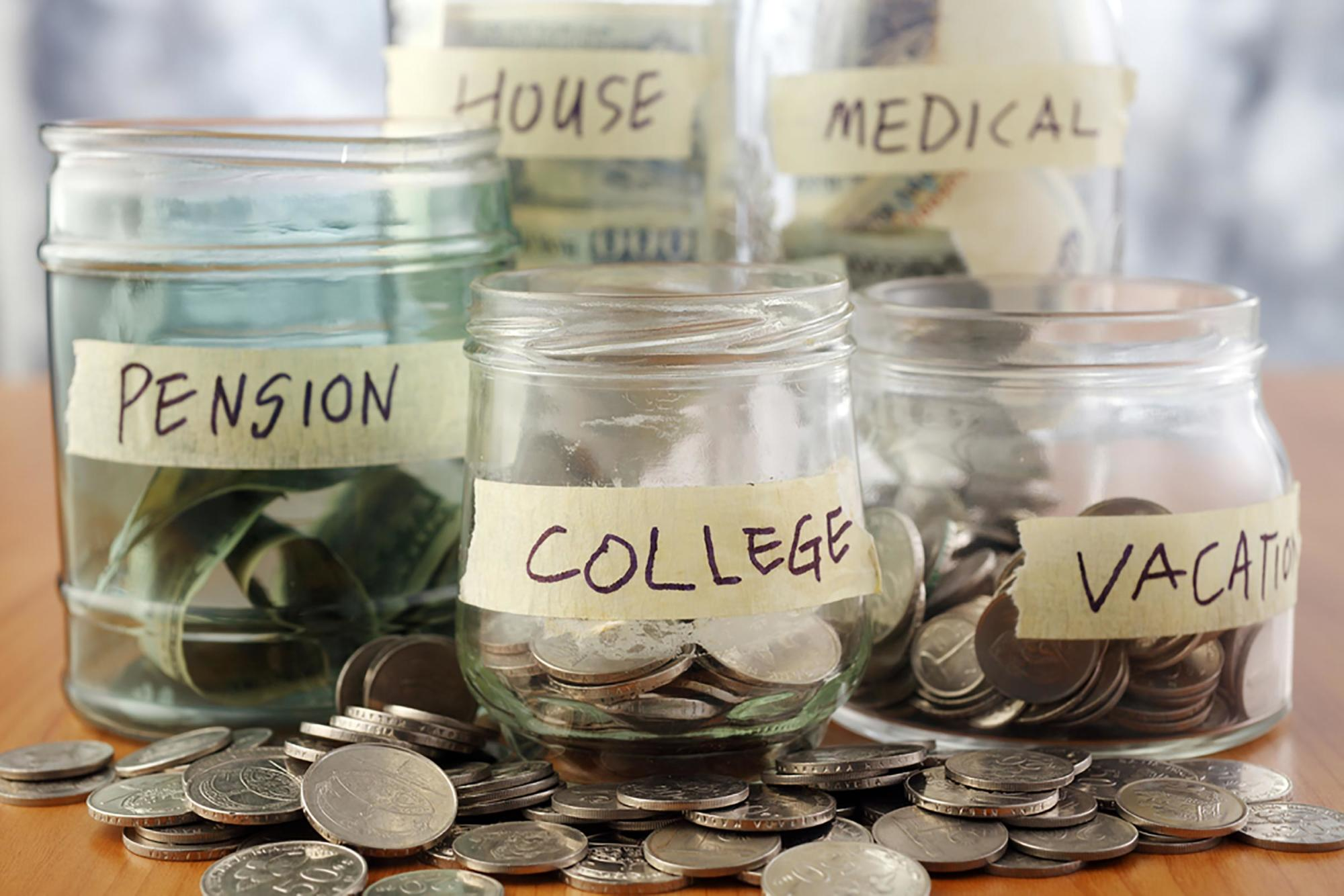 Saving coins in jars