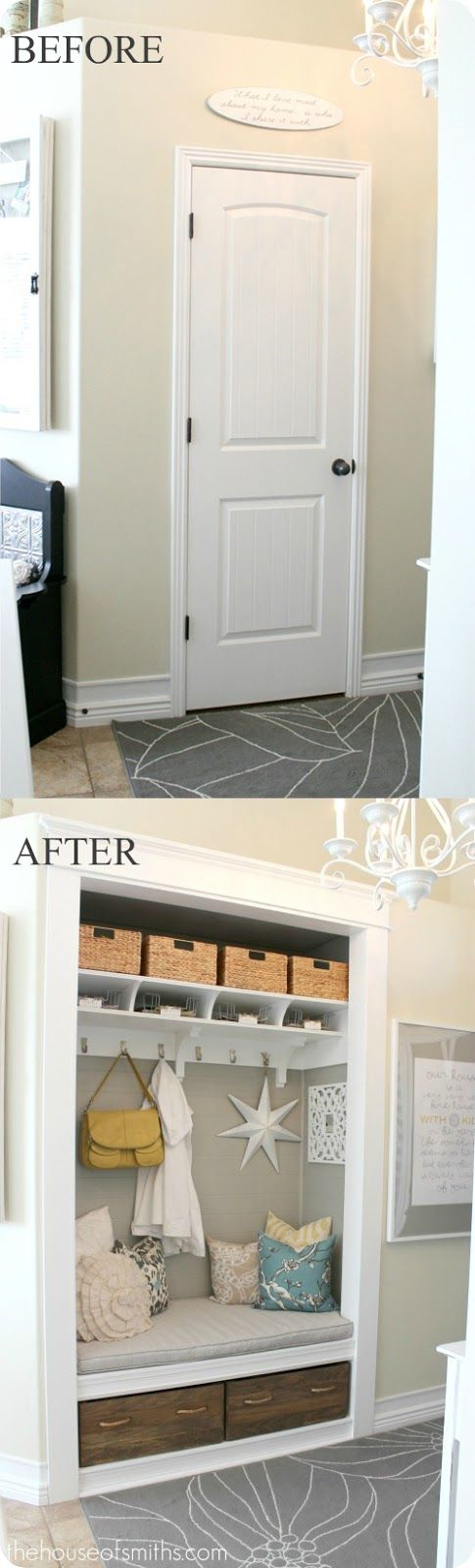 Before and after of closet