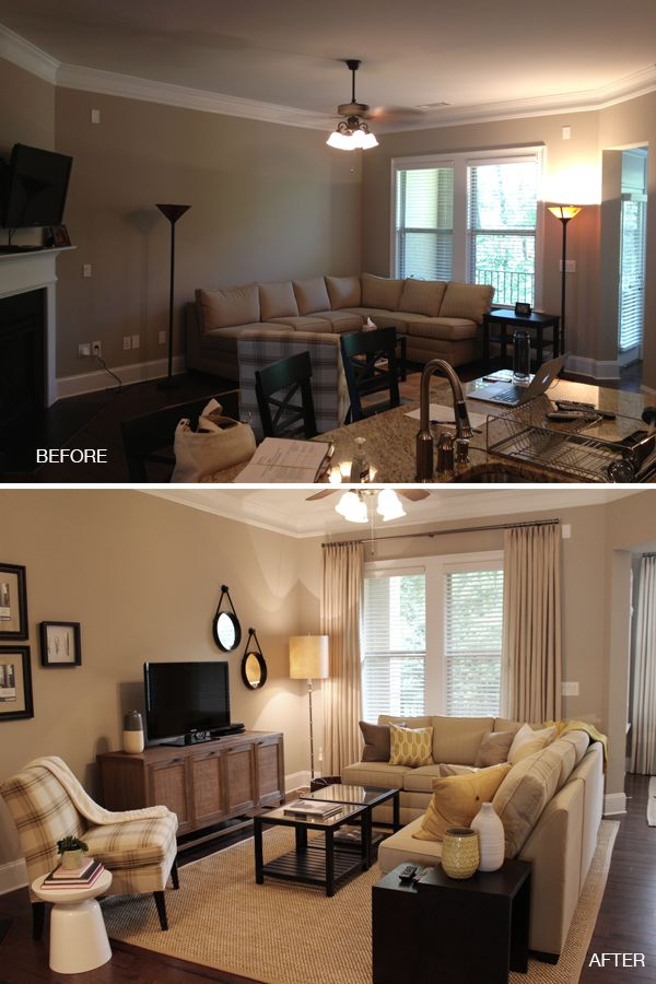 Before and after of living room remodel