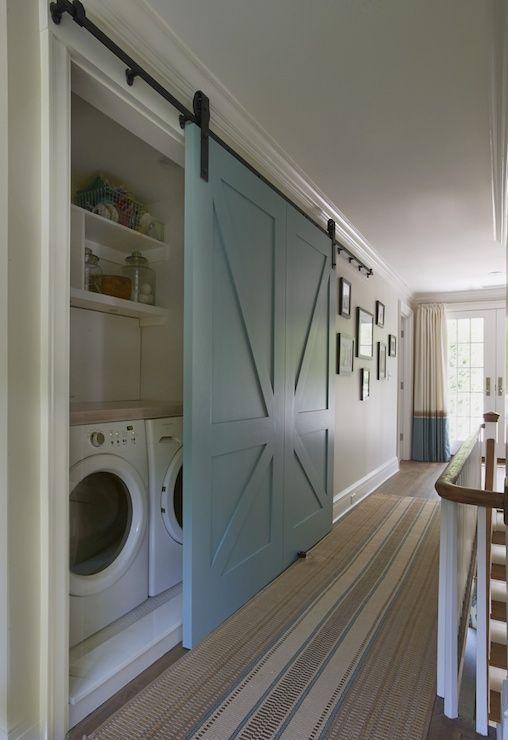Home interior, sliding door laundry room