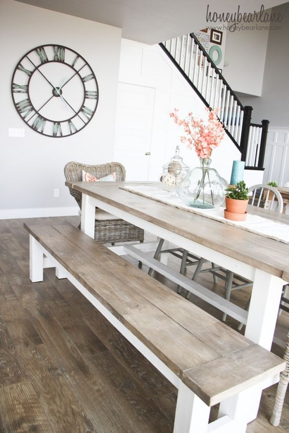 Home interior, table and clock