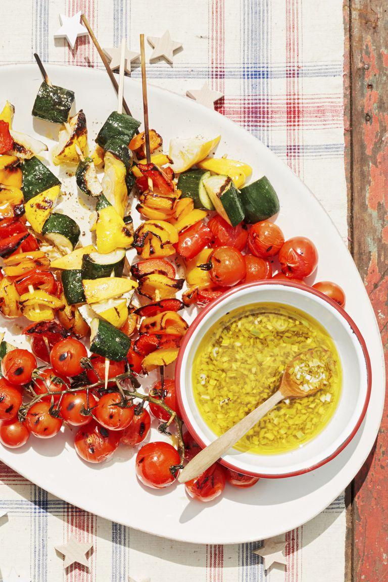 Vegetable kebabs lemon scallion vinaigrette