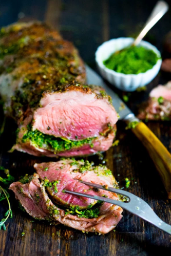 Herb Crusted & Stuffed Leg of Lamb with Mint Gremolata