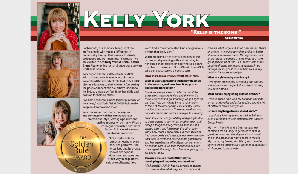 Featured image for Kelly York Receives UPSTAR  Golden Rule Award