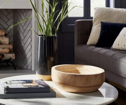 wood bowl on table.