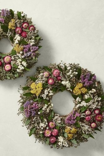 garden wreath with wildflowers