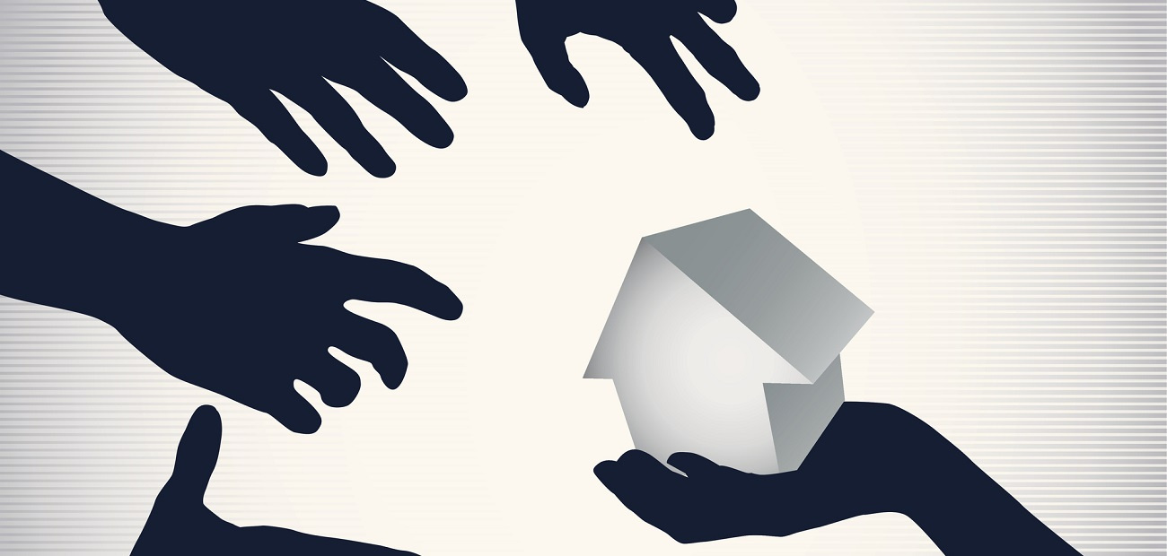 Many hands reaching for same house (graphic).