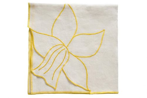 Cloth napkins with tulip pattern and yellow trim