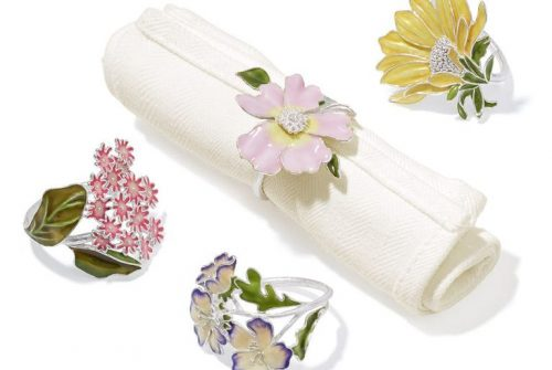 floral napkin ring set